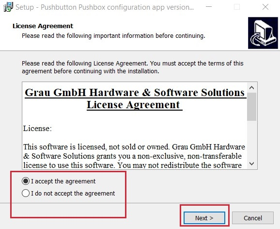GUI for USB pushbutton or USB pushbox - license agreement