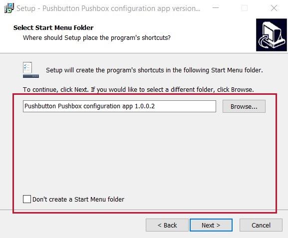 GUI for USB pushbutton or USB pushbox - start menu folder