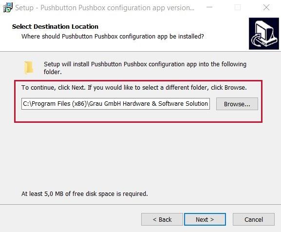 GUI for USB pushbutton or USB pushbox - destination folder